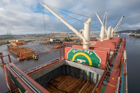 The Olive Bay arrives at the West Hylebos log terminal in Tacoma.
